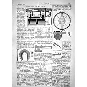 Die Technik von James 1865 Rowland Spannt Hahn-Ventile Fowler-PferdeSchuh-Mas...