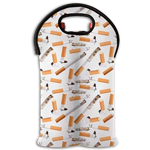 Abstract Pattern of Cigarette Butt 2 Bottle Wine Carrier Wine Tote Carrier Bag/Purse for Champagne, Wine, Water Bottles,Wine Bottle Carrier.