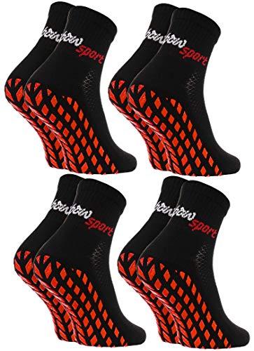 Rainbow Socks - Damen Herren Neon Sneaker Sport Stoppersocken - 4 Paar - Schwarz - Größen: EU 44-46