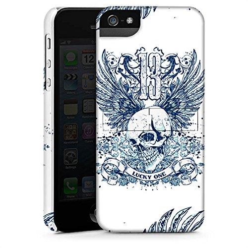Apple iPhone 8 Plus Hülle Premium Case Cover Totenkopf Tattoo Flügel Premium Case StandUp