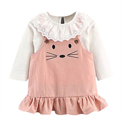 ESHOO Baby Mädchen Langarm Weißes Hemd mit schönen Cartoon Maus Print Trägerlosen Rock, 2 teile / satz Prinzessin Kleid Kostüm