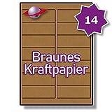 14 Pro Blatt, 100 Blätter, 1400 Etiketten. Label Planet Brown gerippte Kraftpapier Etiketten Für Tintenstrahl- und Laserdrucker 99.1 x 38.1mm, LP14/99 BRK.