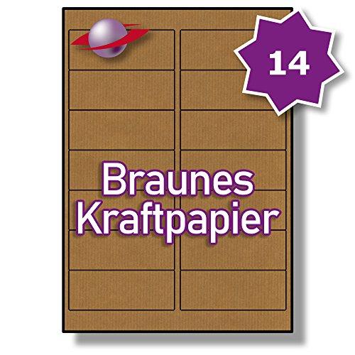 14 Pro Blatt, 100 Blätter, 1400 Etiketten. Label Planet® Brown gerippte Kraftpapier Etiketten Für Tintenstrahl- und Laserdrucker 99.1 x 38.1mm, LP14/99 BRK.