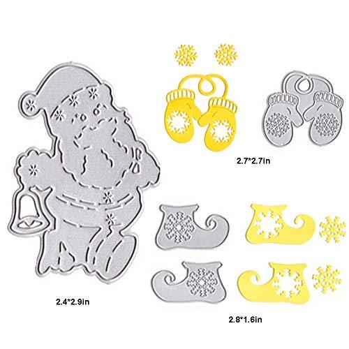 Stanzformen, Weihnachtsmann aus Metall, für die Herstellung von Karten und Scrapbooking, Weihnachtsschuhe, Schnee Boots Gloves Santa Claus Schnee Schnee Boot