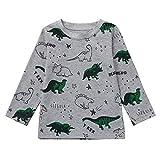 Jungen Mädchen Jungen Baumwolle Dinosaurier Langarmshirt Kinder Babyjungen Warm Langarm Sweatershirt Pullover Tops Baby Sweatshirts Kinder Ärmeln T-Shirt Cartoon Dinosaurier Brief Gedruckt Kleidung