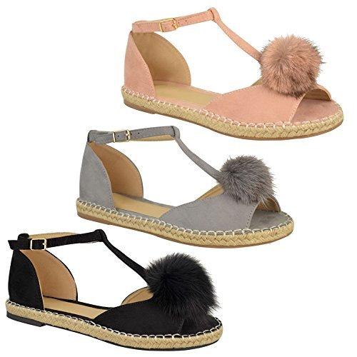 Bild von Damen Pelz Bommel Espadrille Zeh Ausschnitt Flache T-Bar Sandalen Schuhe Größe