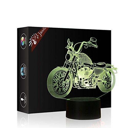 Motorrad Geschenk Nachtlicht 3D neben Tischlampe Illusion, Jawell 7 Farben ändern Touch Switch Schreibtisch Dekoration Lampen Geburtstag Weihnachtsgeschenk mit Acryl Flat & ABS Base & USB Kabel