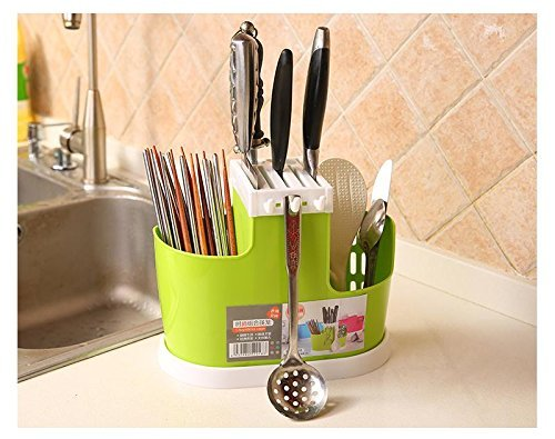 ShopAIS Plastic Cutlery Bin for Kitchen Countertop/Dining Table Storage Home Use Kitchen Tool Knife Spoon Chopsticks Fork Multifunction Storage Box Rack (Assorted Color Will Be Send)