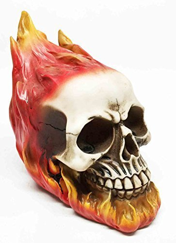 El Diablo Hell Spawn Fire Flame Engulfed Skull Skeleton Figurine Sculpture by Gifts & Decor