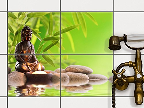 Bad-Folie, Küchenfliesen | Fliesensticker Aufkleber Folie Bad Küche ergänzend zu Kühlschrankmagnet Baddeko | 25x20 cm Erholung Wellness Buddha Zen - 4 Stück