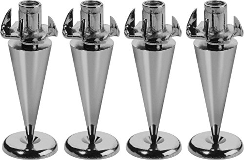 Monacor Ultra Slim Version 4Stück Lautsprecher Spikes-Set, schwarz/verchromte