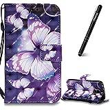 Slynmax Schutzhülle Galaxy S5 Tasche Leder Schmetterling 3D Kreativ Stand Hülle Wallet Case Handyhülle Kompatibel mit Samsung Galaxy S5 Ledertasche Klapphülle Flip CoverLederhülle Kartenfächer (Lila)