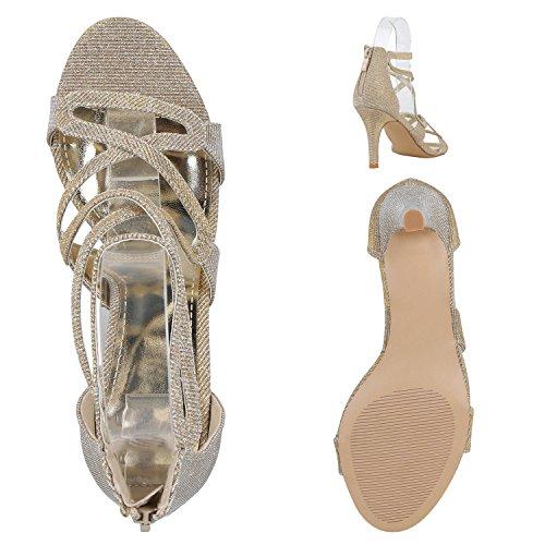 Damen Riemchensandaletten | Glitzer Sandaletten Metallic | Stilettos High Heels | Sommer Party Schuhe | Abiball Hochzeit Brautschuhe Gold Riemchen