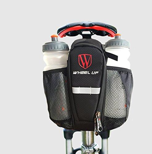 wheelup Radfahren Fahrrad Gebirgsstraßen Fahrrad Satteltasche mit Flaschenhalter, Reflexstreifen, Klettbefestigung Fahrradtasche oder Rahmentasche-C13 (Schwarz)
