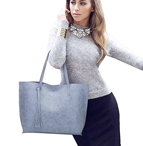 Pb-soar Donna Ragazza Elegante Shopper Tracolla Borsa In Pelle Tracolla Borsa Shopping Bag In Ecopelle (nero) Blu Grigio