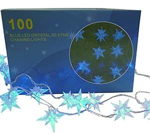 100 3ème lumières d'étoile de poursuite en cristal MENÉES Bleues (L28)
