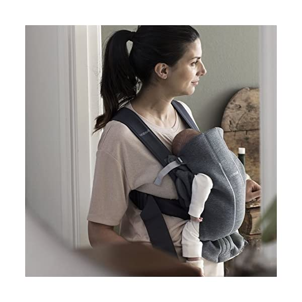BABYBJÖRN Baby Carrier Mini, 3D Jersey,  Dark Grey Baby Bjorn Perfect first baby carrier for a new-born Small and easy to use 3D Jersey - Our newest and softest material is as snug as your comfiest T-shirt 3