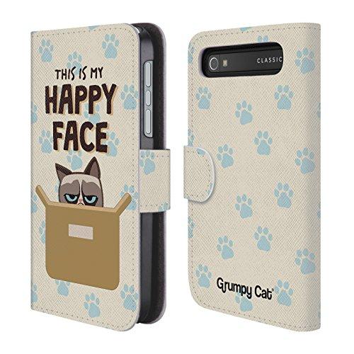 Offizielle Grumpy Cat Glückliches Gesicht Grumpmoji Brieftasche Handyhülle aus Leder für BlackBerry Classic Q20 (Gesicht Glückliches Classic)