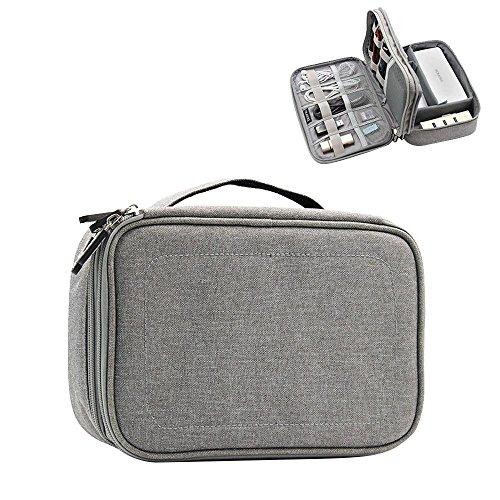 KOBWA Tragbare Elektronikzubehör Aufbewahrungstasche, Reisetasche Organisator Tasche Mit Doppelschichte Tragetasche für Elektronisches Zubehör Wie Festplatte Telefon Ladegerät Tasche und Kabel