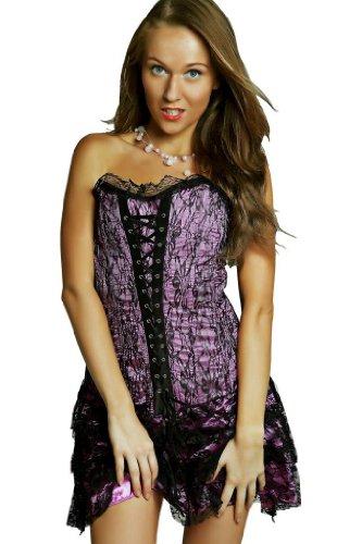 Corsetto Corsagenkleid dell'abito Minigonna party dell'abito seruna rosa 1377E Rosa