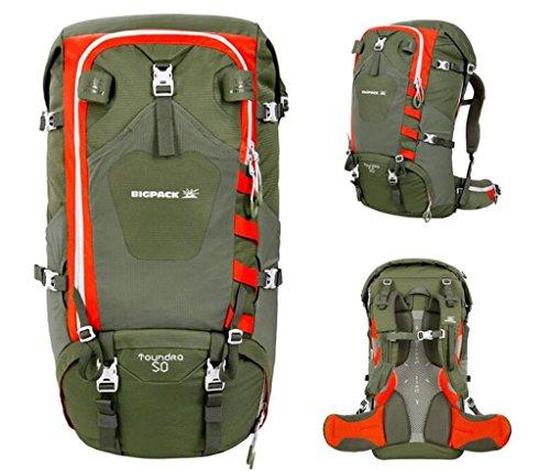Uomini e donne di campeggio all'aperto borse trekking alpinismo borsa a tracolla a cavallo zaino 50L ( Colore : Vino rosso , dimensioni : 50L ) Army Green