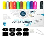SKULLPAPER KreideMarker Set 12 Kreidestifte + 40 Tafelaufkleber + Wechselspitzen und Pinzette