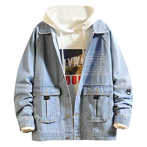 Realde Herren Lange Ärmel Denim Jacket Strickjacke Freizeit Einfarbig Mehrere Taschen mit Reißverschluss Mantel Outwear Herbst und Winter Große Größen Arbeitskleidung für Fitness -