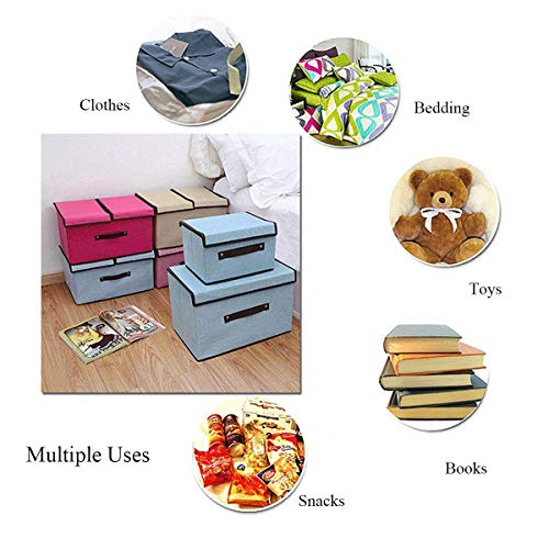 Styleys Storage Box Linen Fabric Foldable Basket Cube Organizer Bin Box Container Drawer with Lid - Gray for Office Nursery Bedroom Shelf (Purple)