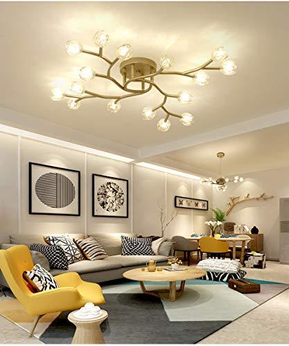 Modern LED Deckenleuchte Mattes Gold Metall und Glas Blume Deckenlampe Decken Licht für Wohnzimmer Schlafzimmer Küche Esszimmer Büro Loft Kronleuchter D80CM G4-Lampe Inkl, 16 Flammig