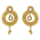 Ameeyo Golden Metal Jhumki Earrings For Women