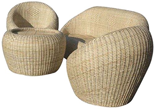 Bengal Basket Sofa and 3 Chairs (Glossy Finish, Honey)