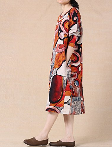 Voguees Frauen-Printing Round Kragen Langarm-Kleid Orange