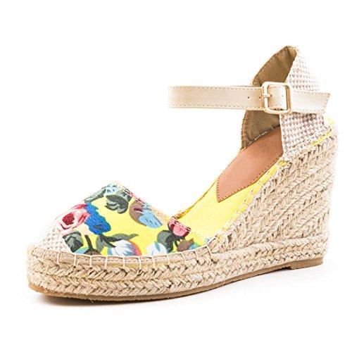 Damen Plateau Espadrilles Riemchen Sandaletten mit Keilabsatz Gelb