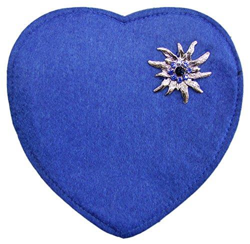 Herz Trachtentasche mit Edelweiß Royalblau
