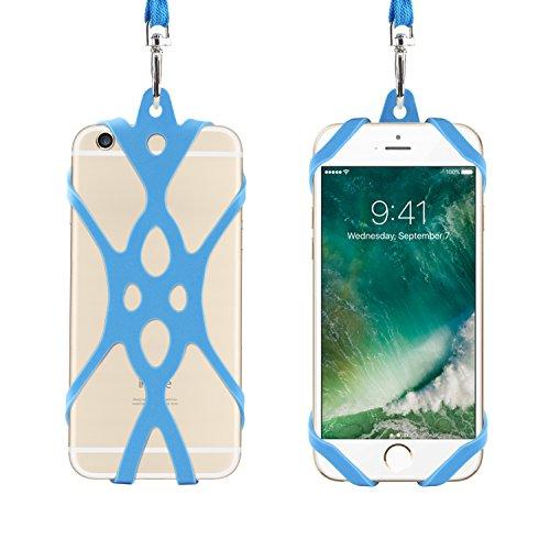Remeel Handy Lanyard mit universalem Handyhülle Halter aus Silikon für iPhone X iPhone 8 iPhone 8plus iPhone 7 iPhone 7plus iPhone 6 6s und auch für alle Größen von Smartphones (Hellblau) -