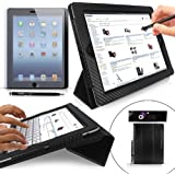 Case for iPad 4 / 3 / 2 - G-HUB GeniusCover BLACK Carbon Fibre Style (Limited Edition) Case Cover Folio for the new iPad 4 as well as 2nd & 3rd generation iPad, with integrated Flip-Stand Function and Magnetic Sleep Sensor. Includes added BONUS: G-HUB ProPen Stylus