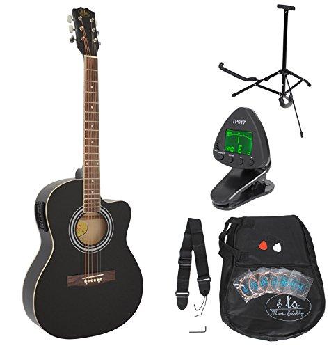 4/4 Elektro Akustik Gitarre Schwarz Westerngitarre mit 4 Band Pickup und Rosenholz Griffbrett mit Tasche, Stimmgerät, Gitarrenständer, Plektren und Ersatzsaiten