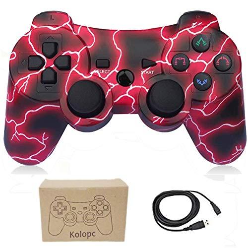 Wireless Controller für PS3 Dual Vibration Gamepad 6-Achsen Joystick mit kostenlosem Ladekabel für PS3 Playstation Controller Blitz Rot