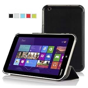 IVSO Slim Smart-Cover Style Leder Hülle Case Folio Tasche Cover für Toshiba Encore WT8-A-102/WT8-A-103 8 Zoll Tablet PC (Für Toshiba Encore WT8, Schwarz)
