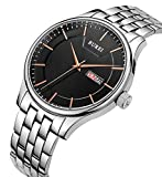 BUREI Men's Quartz Wrist Watches with Black Dial Day and Date Calendar Stainless