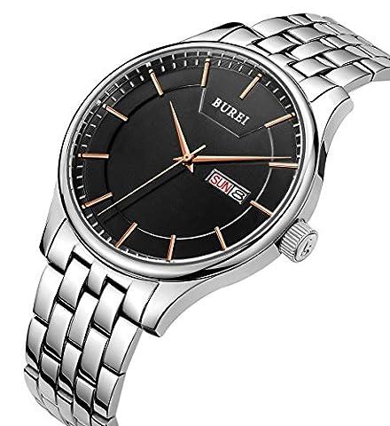 BUREI Men's Quartz Wrist Watches with Black Dial Day and