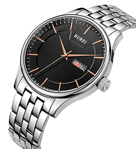 BUREI Men's Quartz Wrist Watches with Black Dial Day and Date Calendar Stainless Steel Band (Black-Rose Gold)