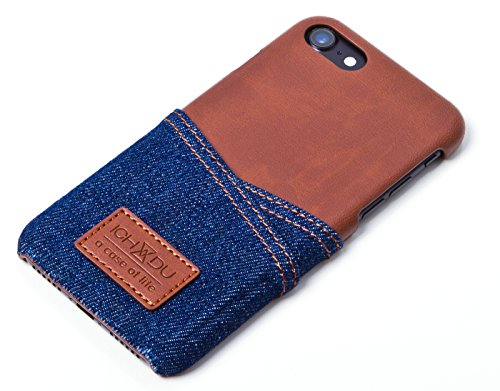 Hülle für Apple iPhone 7 Plus, Backcover im Jeans-Look, Case in Braun oder Schwarz von ICH&DU blue/brown blau/braun