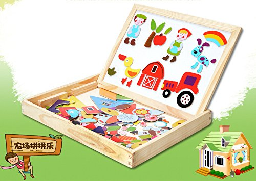 eshowy-cartoon-farm-magnetic-jigsaw-puzzle-multifunction-double-faced-drawing-board-wooden-toys-for-