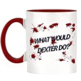 What Would Dexter Do? Design Two-Tone Tasse with Red Handle & Inner by 1StopShops