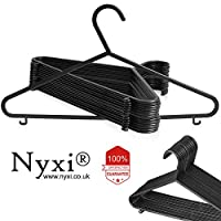 Nyxi Set of 100 Adult Plastic Coat Hangers Black Colour Strong Plastic Clothes with Suit Trouser Bar and Lips (37cm Wide, Black)