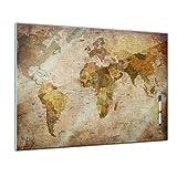 Memoboard 60 x 40 cm, Interieur - Weltkarte Retro - Memotafel Pinnwand - Welt - Ansicht - Landkarte - Land - Ozean - World Map - Karte - Geographie - Globus - Wohnzimmer - Küche - Handmade