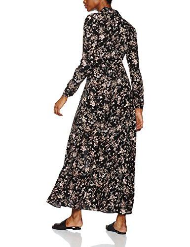 FIND Robe Longue Imprimé Floral Femme Noir (Black Mix)