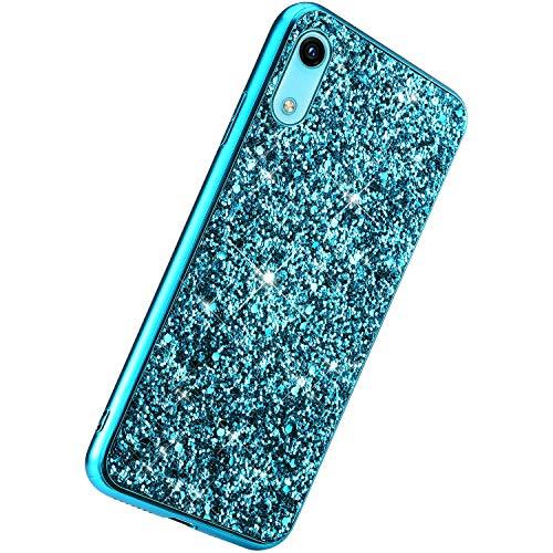 Herbests Kompatibel mit Huawei Y6 Pro 2019 Handyhülle Luxus Glitzer Bling Sparkle Kristall Strass Diamant Schutzhülle Weiche TPU Bumper Silikon Hülle Case Handytasche Ultradünn Cover,Blau