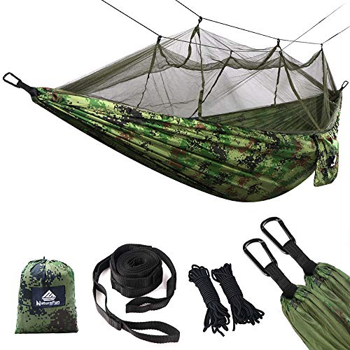 NATUREFUN Ultraleichte Moskito Netz Camping Hängematte 300kg Tragfähigkeit,(275 x 140 cm) Atmungsaktiv, schnell trocknende Nylon Enthalten 2 x Premium Karabinerhaken 4 x Nylonschlingen